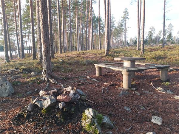 Enkel eldstad med bord och bänkar bredvid